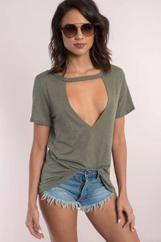 "Search ""Aubree Olive Cut Out Tee"" on Tobi.com! faux choker neck plunge plunging neckline cutout t shirt tshirt open front cleavage cotton stretch lightweight fabric long tunic short sleeves casual school #ShopTobi #fashion shop buy cheap inexpensive ideas chic fashion style fashionable stylish comfy simple chic essential capsule Basic outfit simple easy trendy ideas for women teens cute college fall winter summer spring outfit outfits comfortable shorts work school classy everyday business"