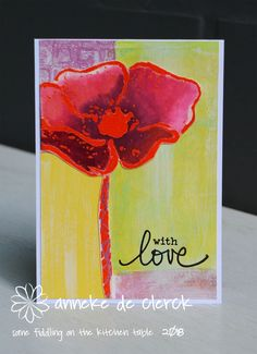 Today I created a set of cards inspired by THIS blogpost. I sponged through a stencil with Versamark ink and heat embossed the pri...