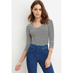 d2178bfe6d1 Forever 21 Women s Striped V-Neck Top ( 11) ❤ liked on Polyvore featuring