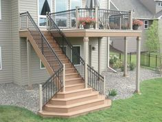 Image result for how to build a deck with a landing off from raised ranch