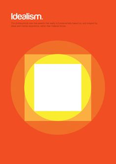 From Genis Carreras' series 'Philographics', big ideas in simple shapes: Idealism. The philosophical view that asserts that reality is fundamentally based on, and shaped by, ideas and mental experience, rather than material forces. http://www.geniscarreras.com/