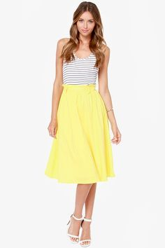 Do Or Tie Canary Yellow Midi Skirt.....I could make this!