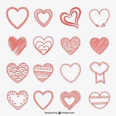 Doodle Vectors, Photos and PSD files Valentine Doodle, Valentine Day Love, Valentines, Doodle Drawings, Doodle Art, Rock Crafts, Diy And Crafts, Gravure Laser, Heart Doodle