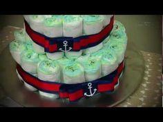 Este vídeo mostra a confecção passo a passo de bolo de fraldas para chá de bebê. Materiais: 53 fraldas tamanho G (9 fraldas, 17fraldas e 27fraldas), 3m de el...