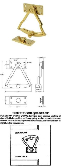 Other Cabinet Hardware 180963: Dutch Door Hardware Heavy Duty Solid Brass  In 9 Finishes By
