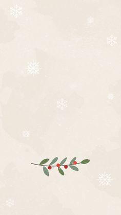 Wallpaper de noël – Fond beige avec flocons et fleur de gui ⛄ ? Christmas wallpaper – Beige background with flakes and mistletoe flower ⛄ ? Christmas wallpaper for mobile IPhone and Android