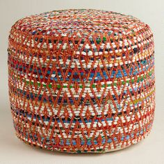 Multi-Color Round Chindi Pouf--Instead of a coffee table, use these for extra seating or as leg rests. Can be moved out of way and would work with your rug!