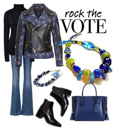 """""""Rock in Blue & Black"""" by mariannemerceria ❤ liked on Polyvore featuring 7 For All Mankind, Lands' End, Undercover, Longchamp, StreetStyle, streetfashion and lampwork"""