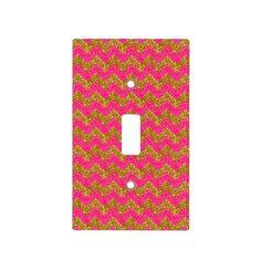 Glitter Chevron, Pink-Gold Light Switch Cover #zazzle #lightswitchcover #glitter #chevron #pink #gold
