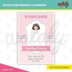 Invitación de primera comunión imprimible con textos editables ¡Sorprende a tus seres queridos con una invitación de comunión personalizable en color rosa!