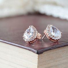 Rose Gold Bridal Wedding Studs Earrings Lux Cubic by Marolsha