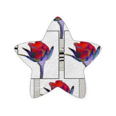 Rosebuds Star Sticker - floral gifts flower flowers gift ideas