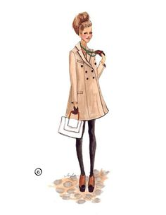 beautiful fashion illustrations are lovely. This illustration makes me long for rain and a hot latte. Moda Fashion, Fashion Art, Fashion Models, Girl Fashion, Fashion Design, French Fashion, Fashion Trends, Fashion Illustration Sketches, Fashion Sketches