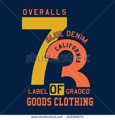 Design letters and numbers blue denim california for t-shirts