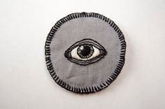 All Seeing Eye   Hand Embroidered 2.5 Black and by SomeRabbits