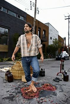 Photographers Find Creative Ways to Deal With Irritating Potholes - Winemaking, Rue St. Zotique, Montreal.