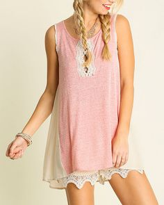 Umgee USA | Women's SL Tunic with Lace Keyhole | Country Outfitter