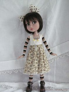 "Handmade Doll Clothes For Tonner Patience 14/"" doll Beige Brown Dress headpiece"