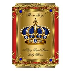 Prince Royal Blue Boy Baby Shower Regal Red Gold 2 Personalized Announcement
