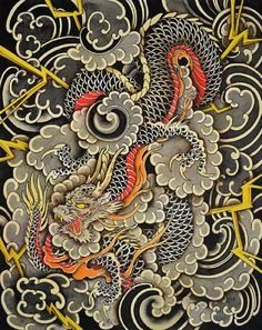 Dragons Storm by Clark North Japanese Asian Tattoo Canvas Art Print