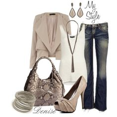 Blue Jean Outfit created by deniselanders on Polyvore. i would love to dress like this. I love the shoes.