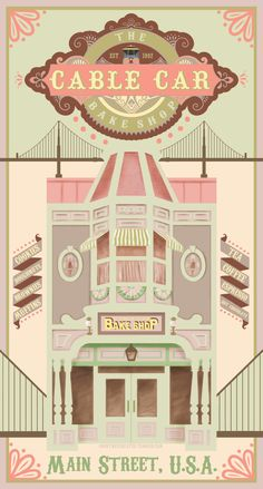 Cable Car Bake Shop at Disneyland Paris poster by Courtney Myers