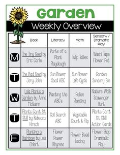 Garden weekly overview with book recommendations literacy and math activities sensory bins and dramatic play beans and flower pots counting activity Daycare Themes, Preschool Themes, Preschool Lessons, Preschool Learning, Early Learning, Seeds Preschool, Daycare Forms, Preschool Printables, Daycare Lesson Plans