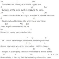 Bruno Mars - When I Was Your Man Chords