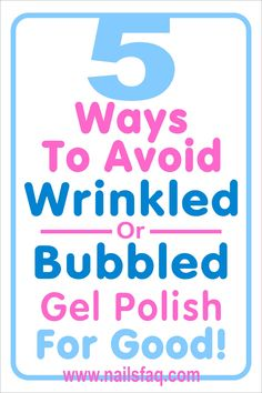 Gel polish wrinkles, chipped or bubbles up when applied on nail surfaces are caused by a few technical reasons. After you know and can identify all these simple facts and incorporate in your gel polish application, you should have great result every time. #howtoremovegelpolish #gelpolish #gelpolishdiy #gelpolishideas Take Off Gel Nails, Gel Nails At Home, Bubbles In Nail Polish, Remove Gel Polish, Gel Polish Colors, Colorful Nail Designs, Glitter Gel, Acetone, 5 Ways