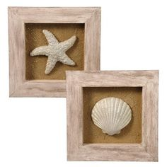 $40.00 	  Grasslands Road-Nautical Beach Decor Sand Sea Shell Starfish Wood Shadow Boxes