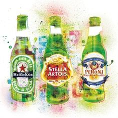 Green beverage bottles illustration by  Steven Pattison