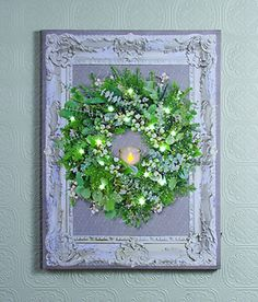 """Dimensions: 18""""W x 24""""L Stretched canvas Flickering Lights AA Batteries On / Off switch The LIGHTED VINTAGE FRAMED WREATH depicts a beautiful Christmas wreath i"""