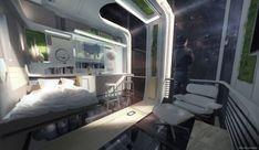 ArtStation - The Captains Private Quarters, David Knapp Futuristic Bedroom, Futuristic Interior, Futuristic Architecture, Interior Architecture, Interior Design, Futuristic Art, Minimalist Architecture, Sci Fi City, Spaceship Interior