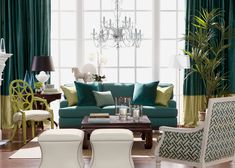 The Teal Deal Living Room | Ethan Allen which I love the color palette as well