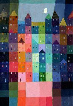 Block Town at Dusk by Eugen Stross Art Drawings For Kids, Art For Kids, Paul Klee Art, 2nd Grade Art, House Quilts, Hippie Art, Art Plastique, Art Lessons, Painting Lessons