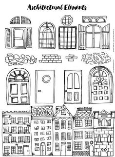 Architectural Elements Handout by Painted Paper Art Doodle Drawings, Doodle Art, Window Drawings, Documents D'art, Arte Elemental, Classe D'art, Art Handouts, Art Worksheets, House Drawing