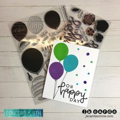 Oh Happy Day Balloons. Concord & 9th Happy Balloons and Enjoy it All Photopolymer, Copic Black Multi-liner, Pretty Pink Posh Amethyst, Lucky and Sea Breeze Sequins.