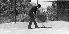 Warren Beatty sweeping the tennis court at his original Mulholland Drive home.  Beatty tells a friend he wore Boast in the 70's, but no photos found as of yet.