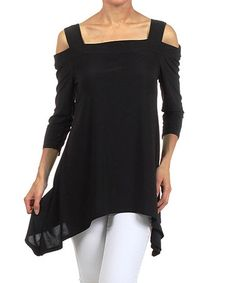 Another great find on #zulily! Black Cutout Sidetail Tunic - Women by Karen T. Design #zulilyfinds