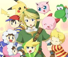 Yoshi, Jigglypuff, Kirby, Lucas, Link, Toon Link, Pikachu, Ness and Ice climbers, Super Smash Bros.