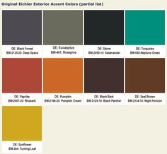 Eichler mid-century exterior accent paint colors with Benjamin Moore equivalents. Mid Century Art, Mid Century Style, Mid Century House, Mid Century Decor, Danish Modern, Mid-century Modern, Modern Homes, Modern Entry, Modern Ranch