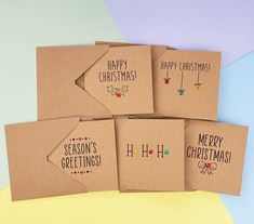 Pack of 5 Cute Christmas cards with gems Modern Kraft Merry | Etsy Cute Christmas Cards, Christmas Card Packs, Christmas Bows, Handmade Christmas, Pun Card, Thanks Card, Hand Logo, Wedding Anniversary Cards, Greeting Cards Handmade