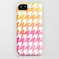 Houndstooth orange watercolor iPhone & iPod Case