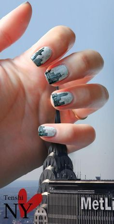City scape nail art...I do not have the talent or time to this, but this is awesome