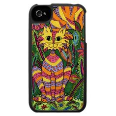 Vivid Garden Cat 2  This multicolored striped cat with colorful, highly detailed markings is sitting in the shade of a dense, vivid garden teeming with exotic, ornately patterned plants and flowers in this unique and uplifting design.