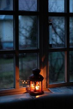 Lanterns in windows for an autumn glow Through The Window, Window View, Candle Lanterns, Battery Candles, White Lanterns, Vintage Roses, Fairy Lights, Rainy Days, Beautiful Images
