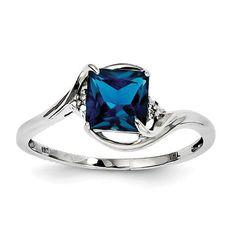 Sterling Silver Diamond & London Blue Topaz Princess Cut Ring