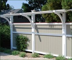 Board Fence with Trellis Topper modern fencing