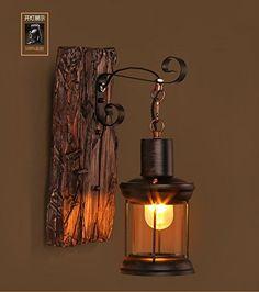 Europäischen zeitgenössischen Nachttischlampe Wand Lampe Schlafzimmer vintage Massivem Holz Wandleuchten, Vintage single Wandleuchte (360 * 150mm)-YU&XIN