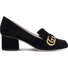 Gucci Marmont fringed suede loafers (795 AUD) ❤ liked on Polyvore featuring shoes, loafers, suede shoes, fringe shoes, loafers moccasins, strappy shoes and monk-strap shoes